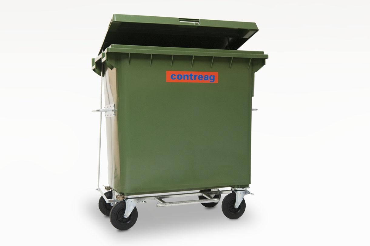 Container 660lt en plastique <br> avec pédale lève-couvercle <br>